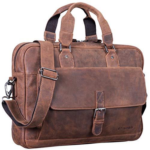 STILORD 'Aurora' lederen businesstas dames aktetas vintage 13,3 inch laptoptas voor MacBook kantoortas schoudertas groot echt runderhuid, Kleur:missouri - bruin