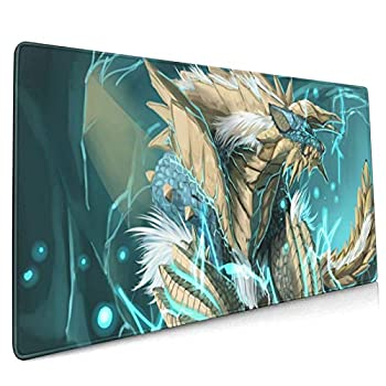 Monster Hunter Zinogre Cartoons Waterproof Oversized Gaming Mouse Pad Dining Table Mat 15.8x35.5 Inches Square Non-Slip Rubber Mat