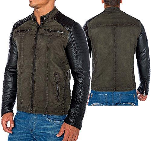 Red Bridge Jacke Herren Biker Kunstleder Lederjacke Redbridge Jacket mit gesteppten Bereichen (XL, Khaki) - 6