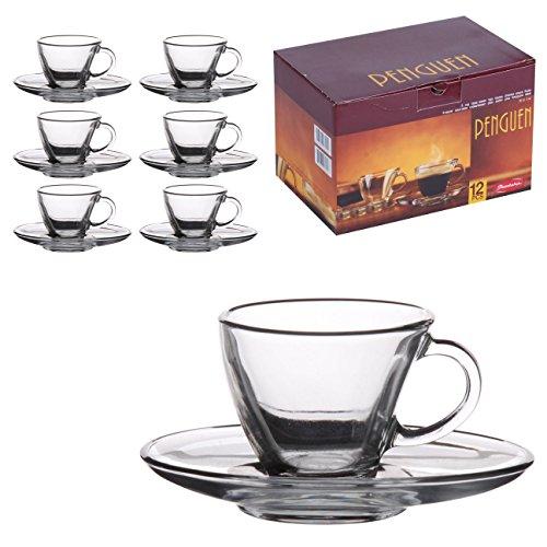 Pasabahce - Set da 6 tazze da caffè espresso in vetro con piattini, 12 pezzi