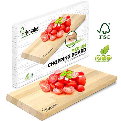 Tabla de Cortar Mediana para la Cocina - 37 X 24 X 2 cm – 4 Variaciones – Aprobado por FSC – Ecologica Hecha de Madera de Abedul – Adecuada para Cortar Pan Vegetales Frutas Carne Pescado