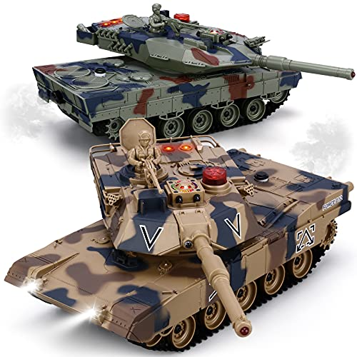 RC Tank Set, 1/24 Scale RC Army Battle Tanks with Life Indicators and Spray, 35 Mins Playtime Remote Control Military Toys, Set of 2 RC Vehicles for Kids and Adults