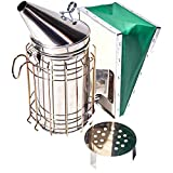 Stainless Steel 11-inch Bee Smoker for Beekeeping with Heat Shield, Green Bellow, Extra Thick Smoking Plate and Heavy Duty Features