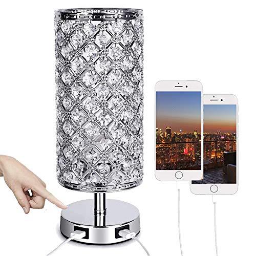 ALLOMN Kristall Bett Tischleuchte, Dimmbar Berühren Steuerung Tischlampe Moderne Kristalllampe Dual USB Ladeanschluss, 3 Helligkeitsstufen E26 Lampensockel (Lampe nicht im Lieferumfang enthalten)