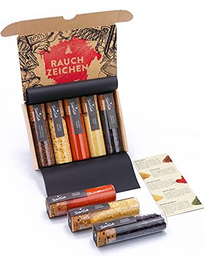 Raucharoma Gewürze Geschenkset I 5 edle Gewürze mit Rauchgeschmack & REZEPTEN   Gewürz Geschenk für Küchengötter   Genial rauchiges Gewürz für Grillgut   Raucharoma vegan für Herzhaftes