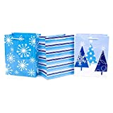 Hallmark Medium Holiday Gift Bags, Blue and White (Pack of 3; Snowflakes, Stripes, Trees)