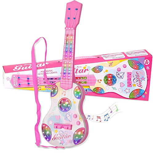 Shayson Kids Toy Guitar 4 Strings Mini Children Musical Instruments Ukulele Classical Educational Learning Guitar Toy for Toddler Beginner(Pink)