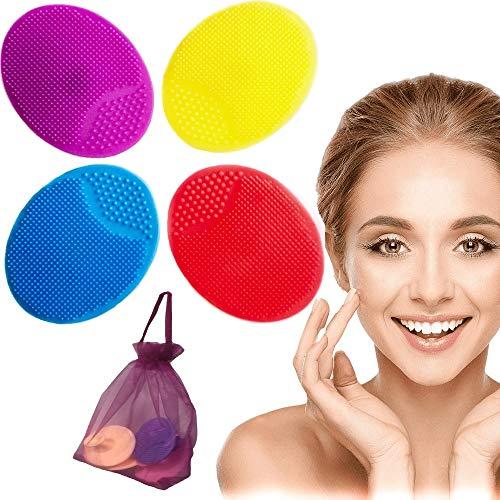 Spazzola Pulizia Viso 4x Esfoliante Pelle Sensibile Omaggio Sacchetto Scrub Massaggiatore Detergente Morbido Silicone Scrubber Anti-eta' Delicata Skin Care