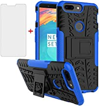 Phone Case for Oneplus 5T with Tempered Glass Screen Protector Cover and Stand Kickstand Hard Rugged Hybrid Cell Accessories Oneplus5T A5010 One Plus5T 1 Plus 1plus One+ + 1+ 1+5T Cases Men Black Blue