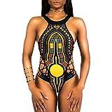 VECDY 2019 Bañador Monokini Push Up Traje De Baño étnico Vintage Siamés para Mujer Mujeres Vendaje De Una Pieza Bikini Bra Acolchado Ropa De Playa(Negro,XL)