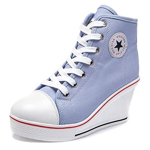 Wealsex Mujer Cuñas Zapatos De Lona High-Top Zapatos Casuales Encaje Talla Grande...