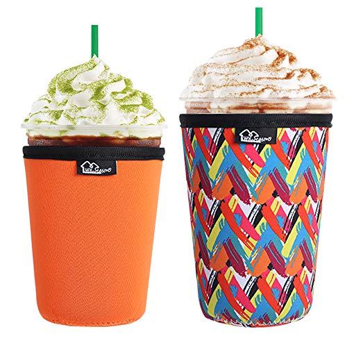 WKieason Wiederverwendbare Isolierhülle für Eiskaffeetassen, kalte Getränke und Neopren-Kaffeetassenhalter, Kühlabdeckung, 473 - 680 ml, Starbucks Kaffee, McDonalds, Dunkin Donuts, mehr (Farbstreifen)