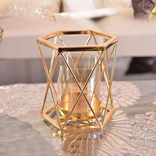 Los titulares de la Vela hogar Creativo de Metal Ligero Europea candelabro de Cristal Adornos Modernos Sala de Estar la decoración del Restaurante Candelabro (Color : White, Size : 1)