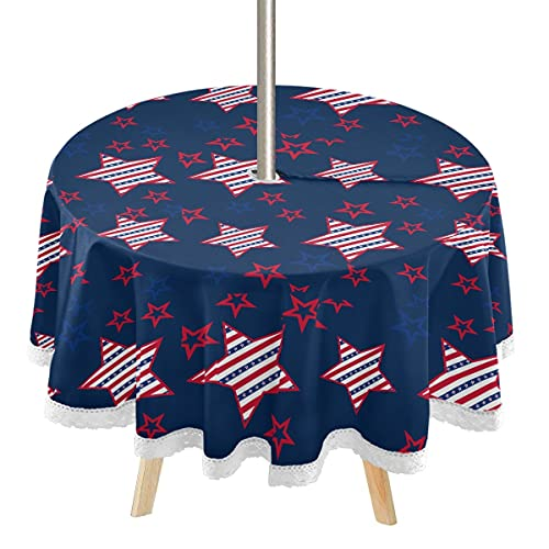 4th July Round Outdoor Tablecloth 60' with Umbrella Hole and Zipper, American Stars Patio Table Cloths, Patriotic Memorial Day Table Covers for Backyard Circular Table/BBQs/Picnic