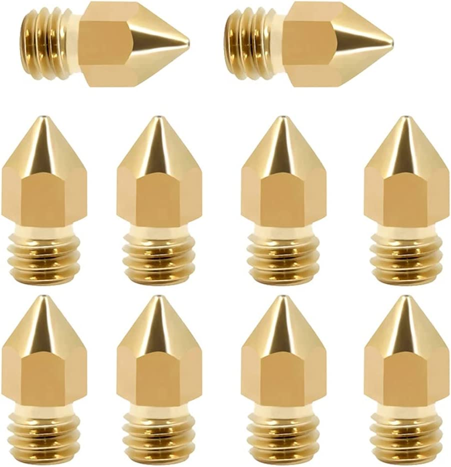 MNTT Print Head Nozzle,Copper 3D Printer Accessories Ender-3 CR10S Threaded Filament 1.75MM MK8 Brass Nozzle Extruder Nozzles(0.6mm-10pcs)
