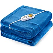 "Heated Blanket, iTeknic Electric Blanket, 60""x 50"" Flannel Electric Throw with 10 Heating Levels & 1H/2H/3H Auto Off, ETL Certified, Overheating Protection Heated Throw, Machine Washable (Blue)"
