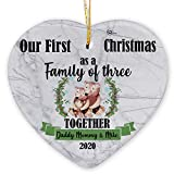 Personalized Custom Baby Boy Girl Name Our First Christmas 2020 Together Ornament Dad Mom 1st Xmas as a Family of Three Ceramic Ornaments Holiday Decoration (Cartoon Bear Family of 3, HEART Shape)