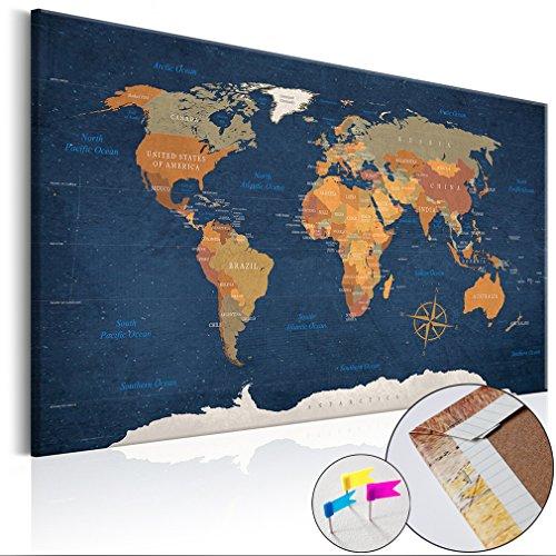 decomonkey Weltkarte Pinnwand 90x60 cm Leinwand | Bilder Leinwandbilder - Fertig aufgespannt auf Dicker 10mm Holzfasertafel! Aufhängfertig! Auch als Korktafel nutzbar! PWC0034a1S