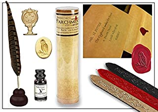 Harry Potter Quill & Ink Wizard's Writing Bundle with Parchment Paper & Owl Sealing Wax Seal Stamp
