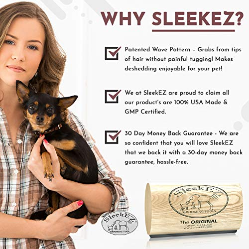 SleekEZ Original Deshedding Grooming Tool for Dogs, Cats & Horses - Undercoat Brush for Short & Long Hair - Painlessly Remove 95% of Loose Hair, Fur & Dirt - Easy to Clean - USA Made - (2.5 inch)