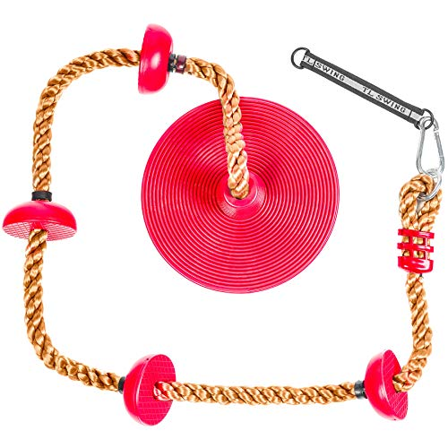 Tree Climbing Rope and Kids Swing: Climbing Rope for Kids with Foot Hold Platforms, Disc Tree Swing Seat, and Hanging Kit with Tree Strap - Outdoor Swings and Swing Set Accessories - Rope Swing, Red