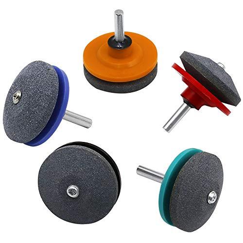 AODOOR 5 unidades de afilador de cortacésped, herramienta multifuncional de espiga de rodadura universal, ideal para afilar cuchillas de cortacésped, hachas, cuchillas de taladro, máquinas cortacésped