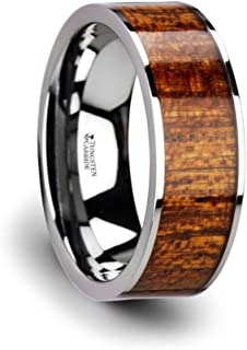 BOLO Flat Tungsten Carbide Band with Exotic Mahogany Hard Wood Inlay and Polished Edges - 8mm