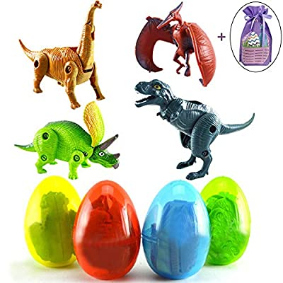 MODOLO 4 Pack Large Deformable Dinosaur Easter Eggs with Toys Inside Easter Party Decorations Gifts Toys for Boys Girls Kids Easter Basket Stuffers Fillers with 1 Easter Gift Bag