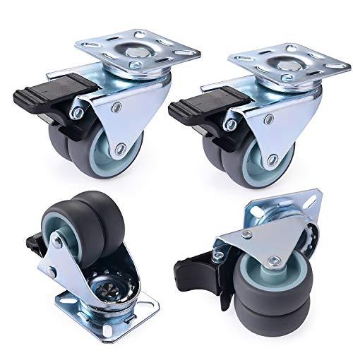 Herenear 4 Stücke 50mm Lenkrollen Schwerlastrollen Doppelrollen Möbelrollen Rollen für Möbel mit Bremse Tragkraft 600 kg