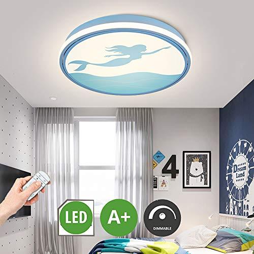 HIL LED plafondlamp met strip thuis, creatieve kamerverlichting voor kinderen, licht ter bescherming van de ogen, sirene lampenkap van acryl, blauw voor kleuterschool