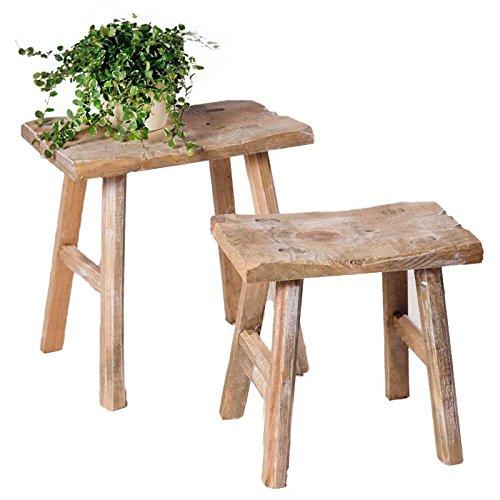 SIDCO Hocker Rustikal 2 x Sitzhocker Beistelltisch Blumenbank Holz Schemel Vintage