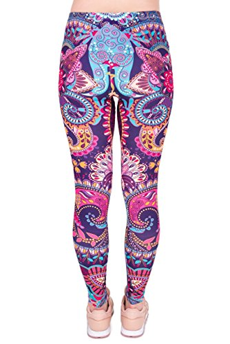 kukubird Printed Patterns Women's Yoga Leggings Gym Fitness Running Pilates Tights Skinny Pants 8 to 12 Stretchable - Mandala Flower Pink