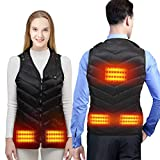 Heated Vest Jacket for Men and Women, Electric Body Warmer Gilet with 3 Temperature USB Charging Heating Clothing Vest for Motorcycle, Outdoor, Hunting, Camping, Hiking, Skiing (Black)