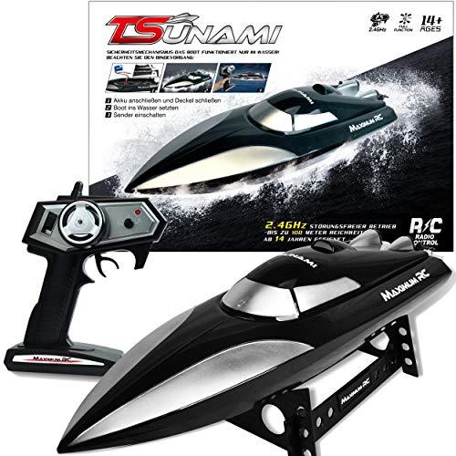 Maximum RC - Ferngesteuertes Boot Tsunami inklusive Ladegerät und Akku - Farbe schwarz - Sender mit proportionaler Steuerung