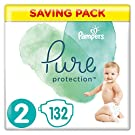 Pampers Pure Protection Size 2, 132 Nappies, 4-8 kg, Saving Pack, Made with Materials Containing Premium Cotton and Plant-Based Fibres
