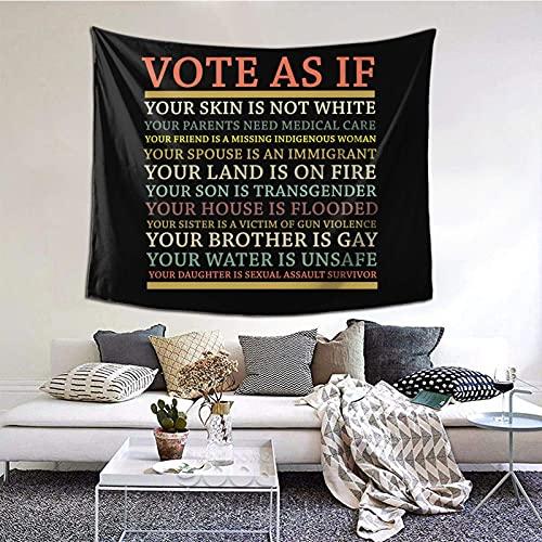 TapicesTapiz del partido del dormitorio de estar del dormitorio de la familia Vote As If Your skin is not white... Tapiz interior personalizado de poliéster estampado 152×130 cm