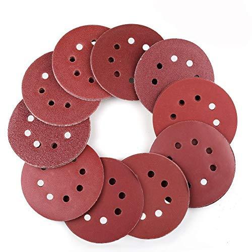 Discos de Lijar de 80 Piezas 125mm,Papel de Lija,8 Agujeros Con Gancho...