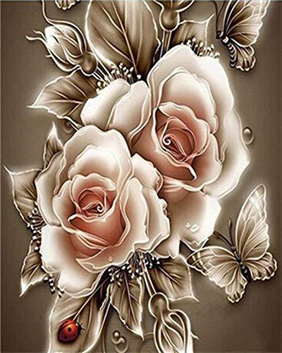 WOWDECOR DIY Malen nach Zahlen für Erwachsene Kinder Mädchen, Schön Rose Blume Schmetterling 40x50cm Vorgedruckt Leinwand-Ölgemälde (mit Rahmen)