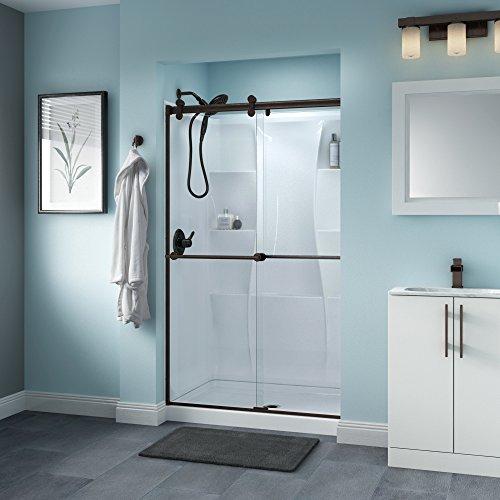 Delta Shower Doors SD3276519 Trinsic Semi-Frameless Contemporary Sliding Shower Door 48in.x70in, Bronze Track