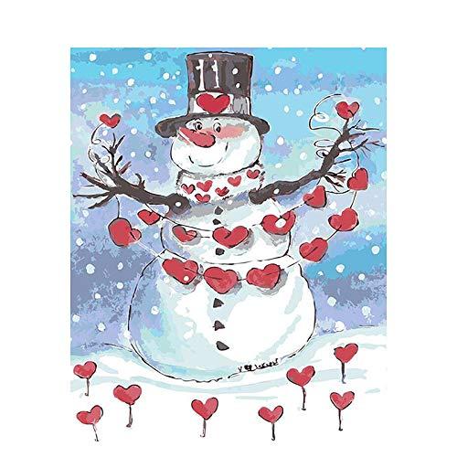 Pintura DIY por Números para Adultos Kits de Pintura a Óleo de Lona Infantil com Pincéis e Pigmento Acrílico -Amo o boneco de neve 40x50cm (sem moldura)