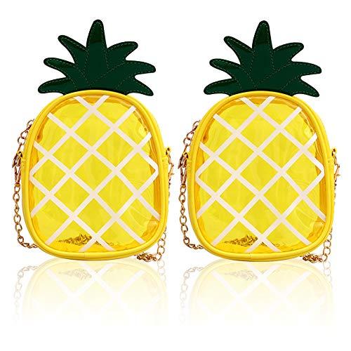 Bolso de Piña Transparente LLMZ 2Pcs Bolso Bandolera Piña Transparente Hombro de Forma Piña Bolsa para Mujer, Diseño de Piña,Pequeño Bolso de Fruta