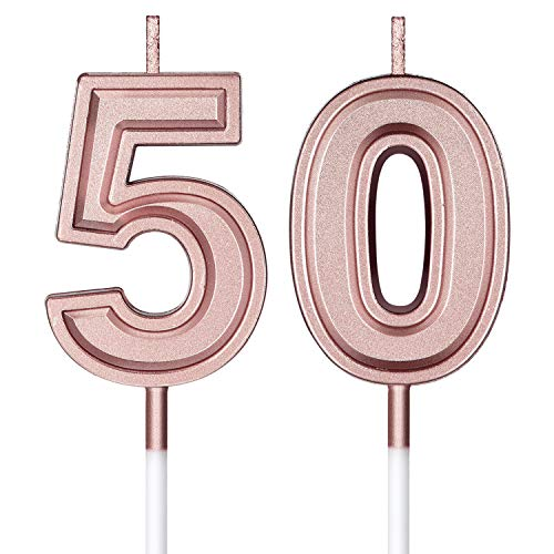 50th Birthday Candles Cake Numeral Candles Happy Birthday Cake Candles Topper Decoration for Birthday Wedding Anniversary Celebration Supplies (Rose Gold)