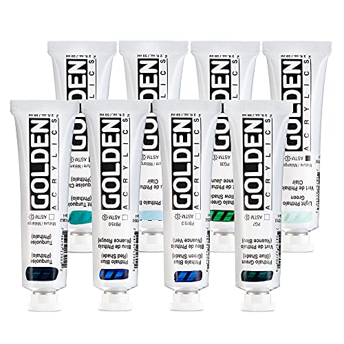 Golden Heavy Body Acrylic Paint, Phthalo, Set of 8 Colors | Blue (GS), Blue (RS), Green (BS), Green (YS), Turquoise, Light Turquoise, Light Blue, Light Green | 2 Ounce Tubes