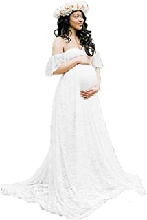 ENINE Women's Off Shoulder Ruffle Sleeve Lace Maternity Gown Maxi Photography Dress