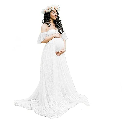 412cc90e0087 Women's Off Shoulder Ruffle Sleeve Lace Maternity Gown Maxi Photography  Dress