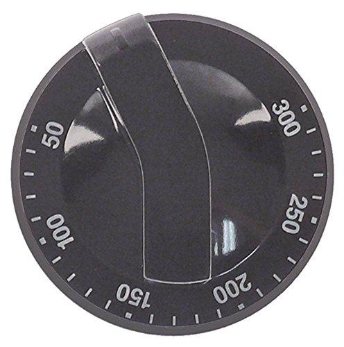 Knebel für Thermostat Achsabflachung oben ø 69mm schwarz für Achse 6x4,6mm max. Temperatur 300°C Symbol Thermostat 50-300°C