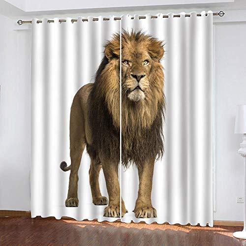 MENGBB Cortina Opaca Microfibra Infantil 160x180cm León Animal Africano 95% Opaca Cortina aislantes de frío y Calor Decorativa con Ojales Estilo para Salón Habitación y Dormitorio