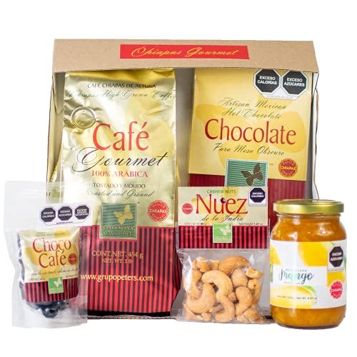 Kit / Paquete Gourmet Oro Maya: Café Gourmet 454g, Chocolate Artesanal 240g, Mermelada de Mango Gourmet 280g, Nuez de la India 40g, Chococafe 40g (Granos de café cubiertos de chocolate)