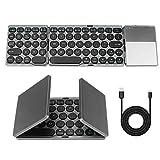 Teclado Bluetooth plegable, Maxjaa mini teclado inalámbrico portátil plegable ultradelgado con panel táctil y batería recargable USB, teclado inalámbrico triple plegable para iOS, Android, Windows