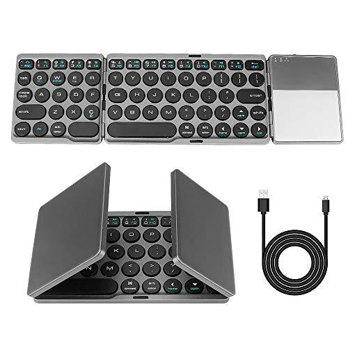 Teclado Bluetooth plegable, Maxjaa mini teclado inalámbrico portátil plegable ultradelgado con panel táctil y batería recargable USB, teclado inalámbrico triple plegable para iOS, Android, Win